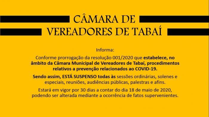 CÂMARA DE VEREADORES DE TABAÍ INFORMA: