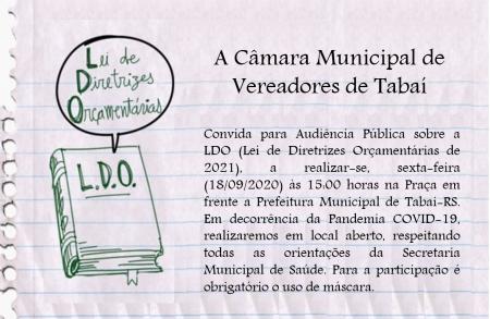 Convite para Audiência Pública sobre a LDO