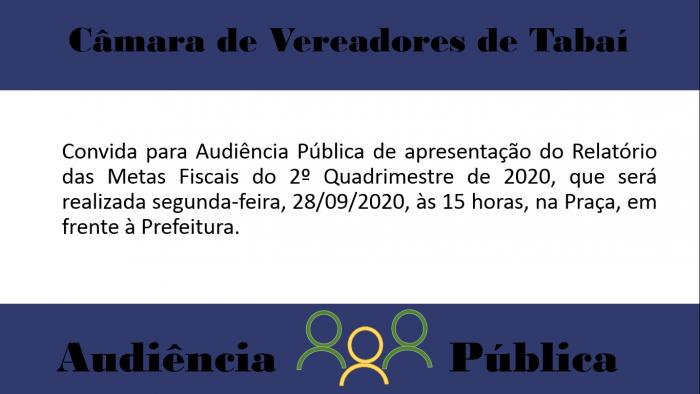Audiência Pública de apresentação do Relatório das Metas Fiscais do 2º Quadrimestre de 2020